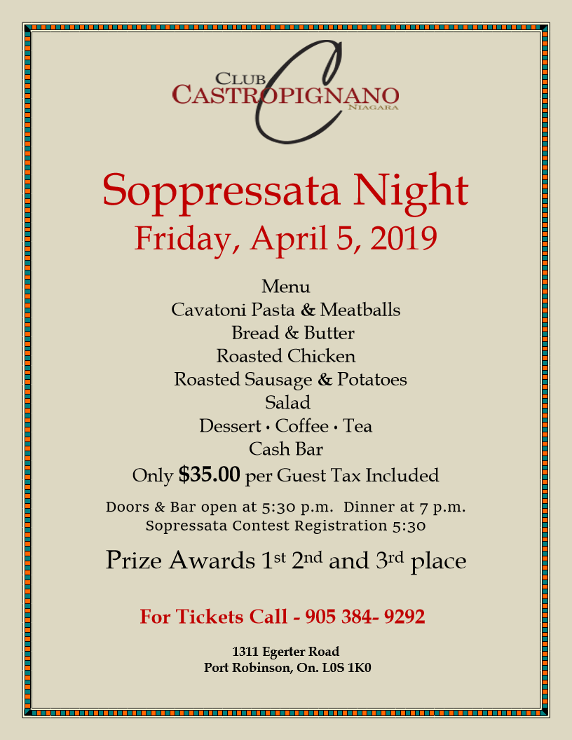 Soppressata Night at Club Castropignano in Port Robinson